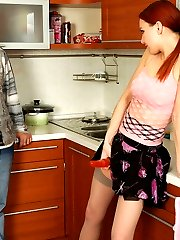 Horny guy pulling down his denim for strap-on fucking with sex-crazy chick