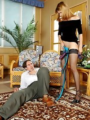 Salacious babe strap-on fucking eager guy from both his ends right on floor