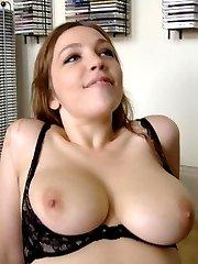 Amateur big-tittied babes pose on cam