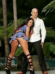 Big titted Eva Angelina sits on a stiff hard-on then allowing it to jizm in her stellar face