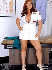 Nurse cherry deep throats on red dildo
