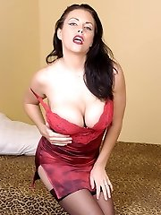 Gorgeous MILF Angelica Sin joins us for a little striptease and exposes her huge jugs