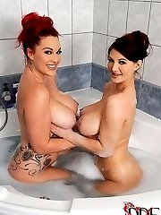 Busty UK Babes' Soapy Play