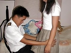 Cute Asian amateur hikes up her skirt and take off her panties to get hand spanked in her ass
