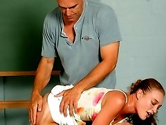 Naughty babe teasing her professor and gets disciplined by taking a good dose of hand spanking...