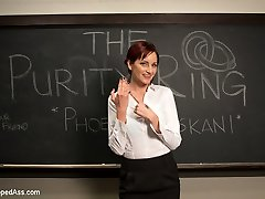 Welcome Phoenix Askani to Whipped Butt! Phoenix luvs lesbian BDSM and plays a pre med student who's also the president of The Purity Ring, a group of college girls who abstain from fuckfest before marriage. When Phoenix fails to get into med university her tutor, Maitresse Madeline gives her an effortless out, go after along with her hidden kinky sadistic girl/girl games and she'll get her into medical college. Besides, it's only having hookup with a dame and she would still have her virginity, rightttt? Phoenix is handcuffed, slapped, made to lick Madeline's asshole and pussy, flogged, stripped with an acrylic lash, wild clover clamps on her nipples and strap on culo pounded while roped in black leather cords!