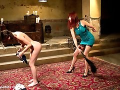 Bonnie Day, a petite local masochist who likes lesbian sex and punishment has her work cut out for her when paired up with Maitresse Madeline! Bonnie endures hard over the knee spanking, cat o' nine tails, and is made to lick Madeline's beautiful asshole and this is just the first scene! Madeline puts Bonnie in a painful suspension testing her endurance while being caned, nipple clamped and fucked to orgasm. For the final test Madeline ties Bonnie on her back, legs spread wide with her feet way over her head for perfect access to her tight asshole. Madeline tortures it with skewers then penetrates her until every orgasm is ripped from inside her tight little all natural body!