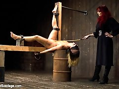 Andre Shatki is new to Device and at the hands of Mz Berlin, is sure to have a rough time. Throughout the whole day she is tormented in vulnerable metal and leather bondage. She submits to a creamy fisting, zipper, weights, fatigue position, challenging caning, and lots of corporal discomfort!