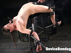 Casey has jumped out of the frying pan and into the fire. She came back for another round and you know that The Pope is going to ramp it up more than the last time she was here. Casey begins with a brutal back bend position, but more importantly, her as is sitting on an electrified shock stool. We move on to Casey on a St. Andrews cross and enduring a grueling flogging before multiple orgasms are ripped from her whore pussy. The day comes to an end with Casey face down and ass up with her holes being used as The Pope wants. She is fucked and flogged, then fucked some more.
