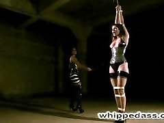 Bobbi Starr is back and as beautiful as ever.  Dressed in fetish attire she is bound in white latex straps standing in a dark scary room.  Sandra whips her ass and tits vigorously.  Then, tied so that she must sit on a rough cement ledge, she endures great nipple torture, the tazapper, forced orgasms and a deep anal dildo fucking.  On her knees with hair tied up to the ceiling she pleasures her mistress by licking her pussy and ass and then gets smothered.  Back on the cement ledge with legs tied to her neck and feet up high in the air she receives an intense bare hand spanking that leaves her shaking. Sandra makes her feel every stroke as she fucks her with a big strapon cock.