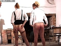 Two pretty school gals touch their toes with g-strings off for a very hard caning