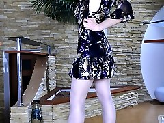 Nasty upskirt teaser in grey satin top stockings showing off her wild bush