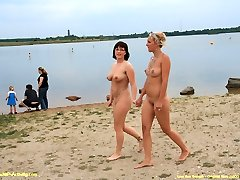 Julia and Julia naked in public
