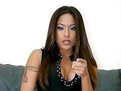 Asian girl in black seamless pantyhose