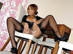sexy ebony nylon play