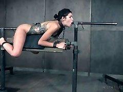 Restrain Bondage superslut Eden Sin gets her muff and anus punished in the dark apartment