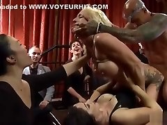 Tied busty towheaded double penetration fucked in public