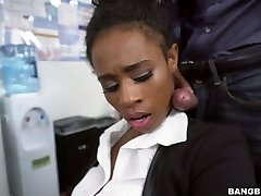Black assistant Ivy Young fucked bad in the office
