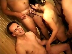 Private video of swingers having their group sex orgy in a sauna