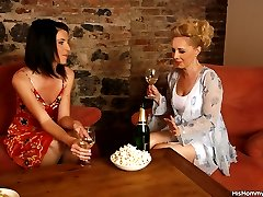 Hot girlfriend and her guys mother have champagne and lesbian sex together