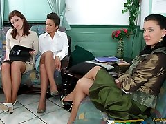 Crazy business-ladies spreading their legs for stocking have fun on the sofa