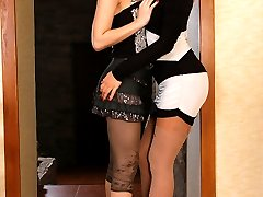Pantyhose loving sapphic babes grind their nylon covered pussies and asses