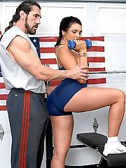 Amazing monster ass babe kym gets her hym instructor to fuck her on the equipment in these hot big tits pics