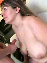 The aroused BBW gets fucked at the party and then he shoots his cum on her big natural tits