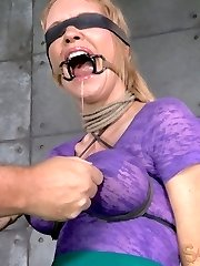 We've had this slut around before, honestly we can't keep her away. This big breasted bimbo LIVES for this sort of thing. She craves the bondage and rough handling with every fiber of her being. She needs it as badly as air. What can you do with a slut like that? Tie them up and stuff them full of cock until their eyes bulge of course.