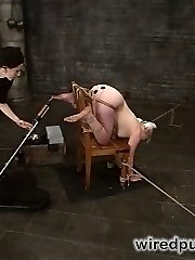 Isis Enjoy mind fucks the wondrous  Cheyenne Clit, roping her inches away from an electrified gate. Every time Cheyenne moves she zaps herself, and is tormented by the struggle to stay still while she cums furiously.