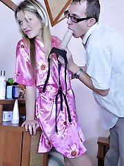 Perverted geek wildly enjoys role exchanging with female strapon predominance
