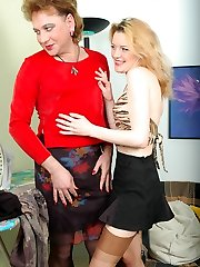 Freaky blondie talking sissy fellow into strap-on from-behind ravaging on sofa