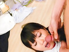 Ryo Asaka Asian has cum on face after sucking and licking dongs