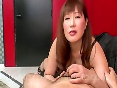Reiko Shimura Asian sucks dick with such appetite and bites balls