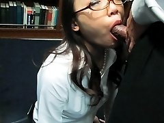 Ibuki Asian shows hot ass in tight skirt and gets cum over specs