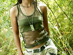 Small Thai teenie in full Army apparel and ready for duty