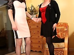 TGirl Luci May spanks lovely Staceys tight ass after she loses interest in giving her a foot...