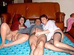 Dirty ladies swinging with their neighbors