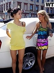 Blonde and a beautiful amateur brunette party in a limo - PrivateSexTapes.com
