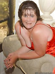 Plump wife in red satin lingerie