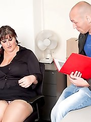 Fat young slut in sexy business outfit fucked by boss after a bonus promise