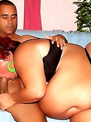 Busty BBW Mindy gets down on all fours to take intense cock shoving in her fatty box