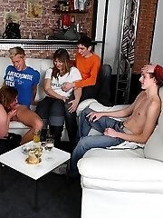 The guys at the party play with big tits and have great sex with the horny drunk plumpers