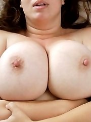 Horny BBW shows massive breasts