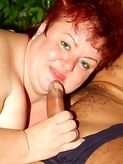Margaret shows us her pair of fat tits while a cock goes in and out of her mature cunt