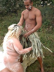 Huge babe Amanda ends up having her fat pussy drilled by a black stud outdoors