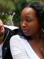 Ebony BBW Angel Eyes goes for outdoor fucking and got her juicy pussy crammed after giving a...