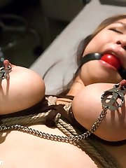In this wish role-have fun, Mia signs up for a medical research program to help pay for her school tuition.  Not realizing that it is of a sexual nature, Mia is locked inside a padded room and manhandled by a psychotic physician.  He rips off her clothes, puts her in handcuffs and brutally pulverizes her throat and vulva and ultimately fucking her tight little asshole.  The research continues with Mia ball-gagged and bound defenselessly spread open with her fat natural fun bags packaged up tight and clipped.  She gives in to the medics merciless ravaging of her bum and pussy and comes hard from the addition of a heavy vibrator.  She is corded again in another pose where all her fuckholes are worked over with harsh treatment.  Then she is flipped onto her back with hands tied under her fun bags, lifting them up for a grand sight as the doctor face fucks her reclined head and decorates her pretty face with his stream.