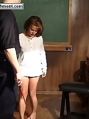 Bare ass thrashing for cute teen bent over the whipping bench - severe stripe marks