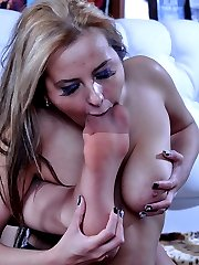 Lesbian foot worshippers lick high heels and nyloned feet before foot sex